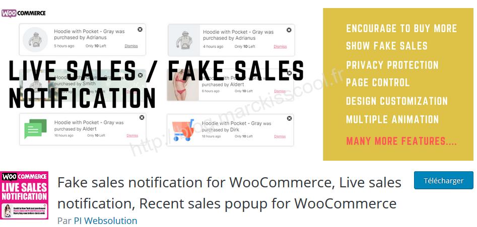 Fake sales notification woocommerce